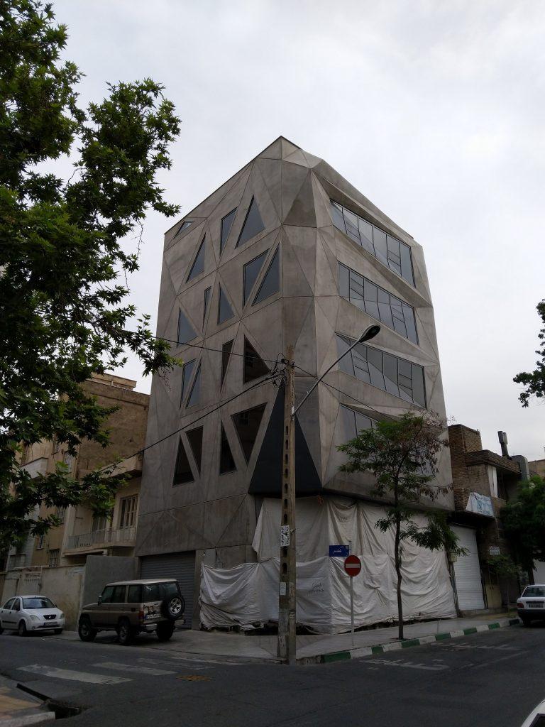 Keshishi Trading Center, Maziar Bahrami, exposed concrete facade, large panel